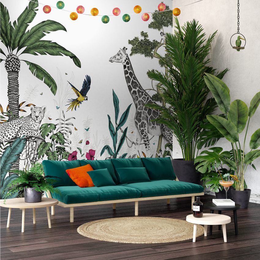 Décor mural numérique XL BLACK JUNGLE ambiance contemporaine