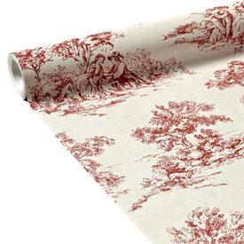 Intiss toile de jouy coloris rouge cardinal ivoire - Papier peint toile de jouy rouge ...