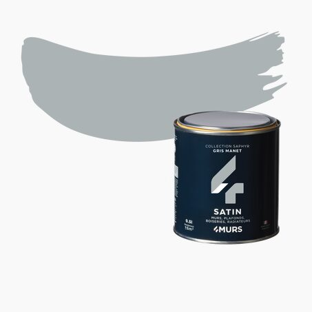 Peinture Finition SAPHYR Alkyde gris manet Satiné 0,5 L