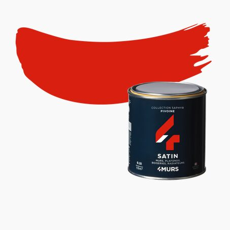 Finishing Paint SAPHYR Alkyd peony red Satin 0,5 L