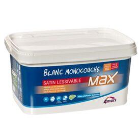 Peinture MURS ET PLAFONDS MAX SATIN Acrylique Blanc Satiné L - Peinture acrylique pour mur exterieur