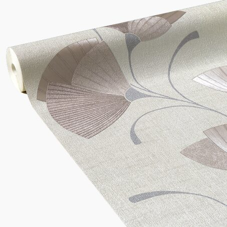 Non-woven wallpaper FLOWER EVENTAIL colour white