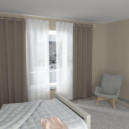 rideau cotoon coloris taupe 140 x 240 cm rideau 4murs. Black Bedroom Furniture Sets. Home Design Ideas
