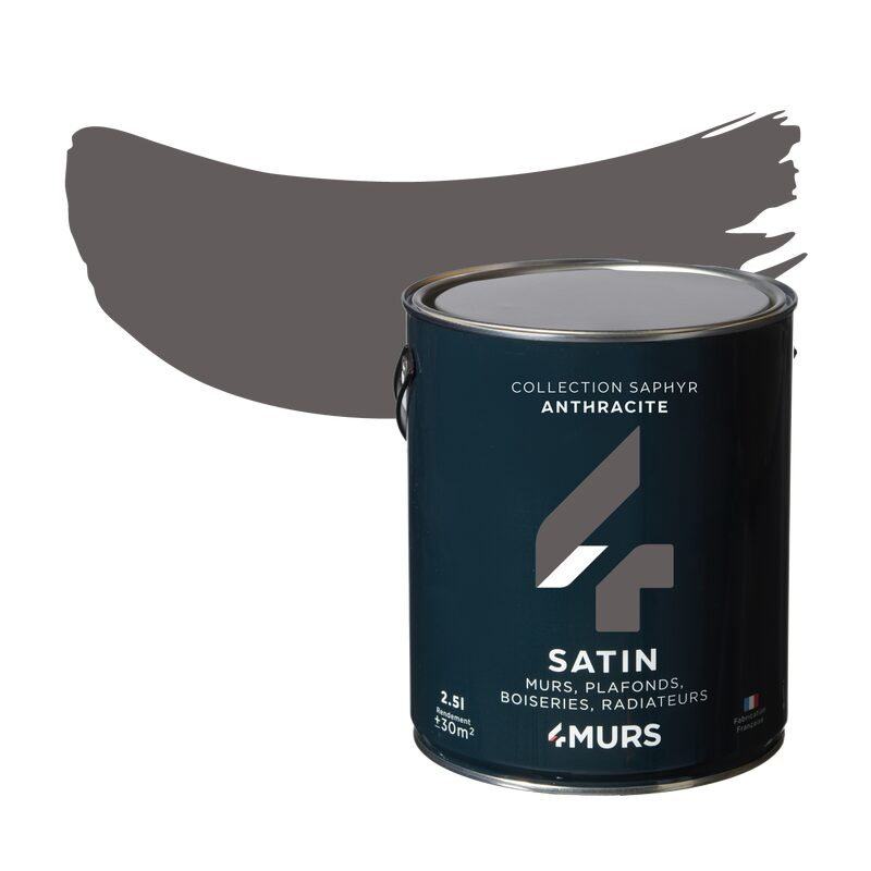 Peinture Multi-supports SAPHYR Alkyde anthracite Satiné 2,5 L