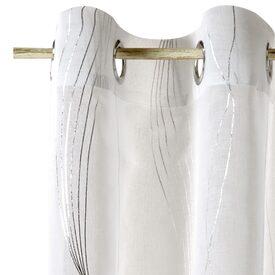 Voilage SOUND coloris blanc 140 x 260 cm argent - Rideau - 4murs