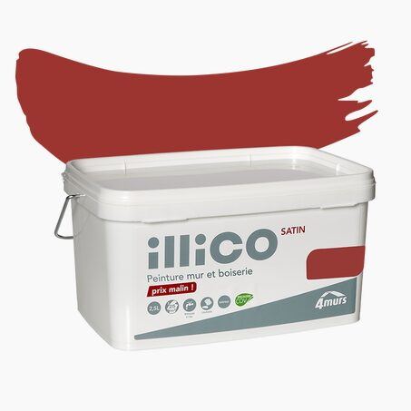 Peinture Multi-supports ILLICO Acrylique rouge néon Satiné 2,5 L