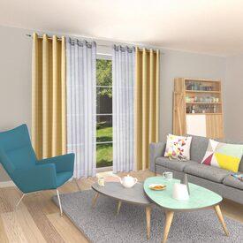 voilage triano coloris gris moyen 140 x 260 cm bambou. Black Bedroom Furniture Sets. Home Design Ideas