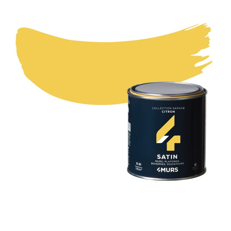 Peinture Finition SAPHYR Alkyde citron Satiné 0,5 L