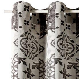 Rideau mosaic coloris gris 140 x 260 cm blanc rideau 4murs - Rideau carreau de ciment ...