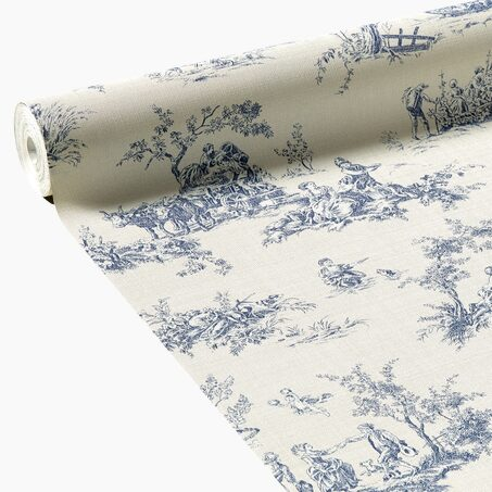 papier peint intiss toile de jouy coloris blanc sable. Black Bedroom Furniture Sets. Home Design Ideas