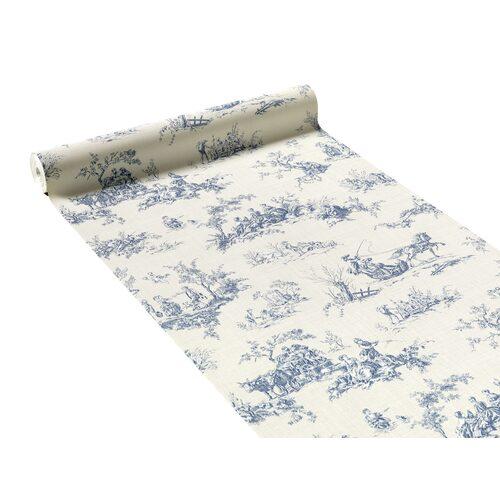 papier peint intiss toile de jouy lazy coloris blanc. Black Bedroom Furniture Sets. Home Design Ideas