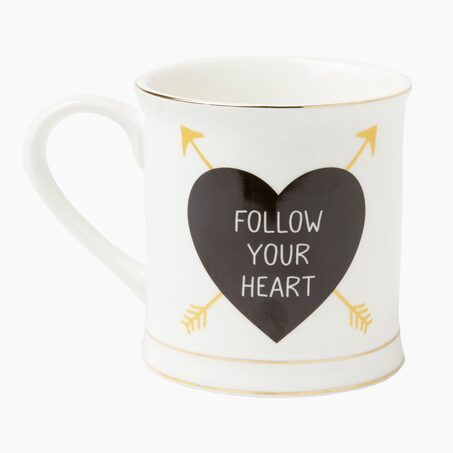 Mug FOLLOW YOUR HEART coloris blanc