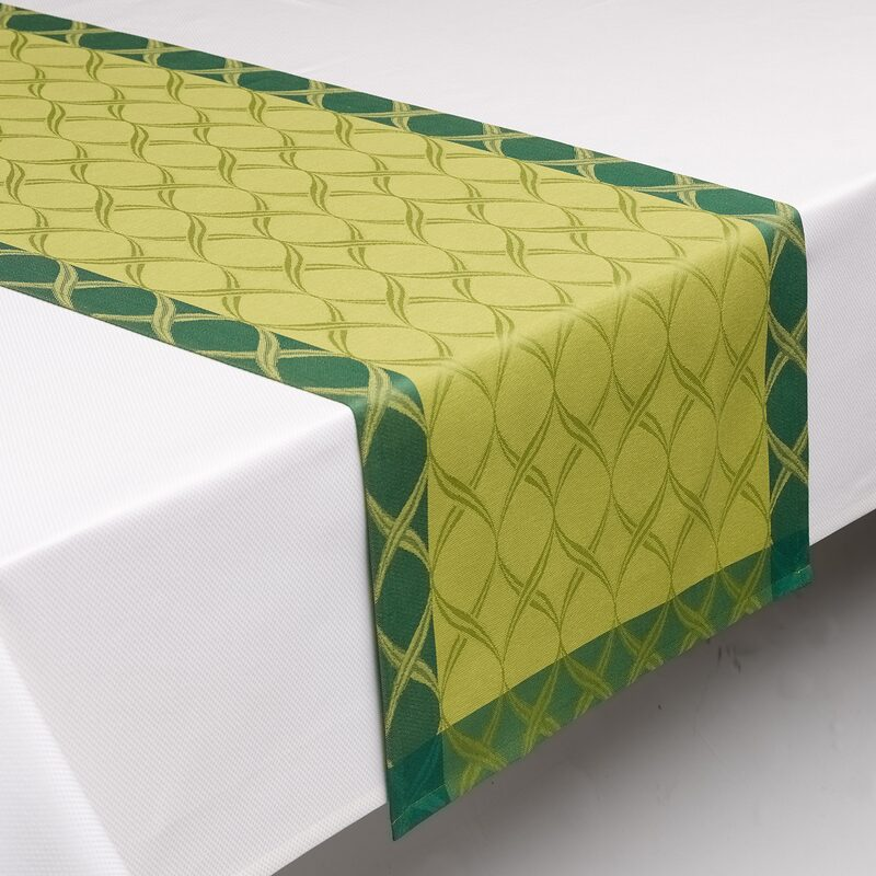 Chemin de table TWIRL coloris vert lime 45 x 150 cm