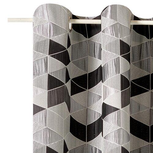 rideau arletty coloris gris 135 x 250 cm noir rideau 4murs. Black Bedroom Furniture Sets. Home Design Ideas