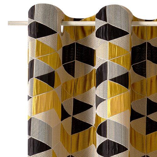 rideau arletty coloris moutarde 135 x 250 cm noir rideau. Black Bedroom Furniture Sets. Home Design Ideas
