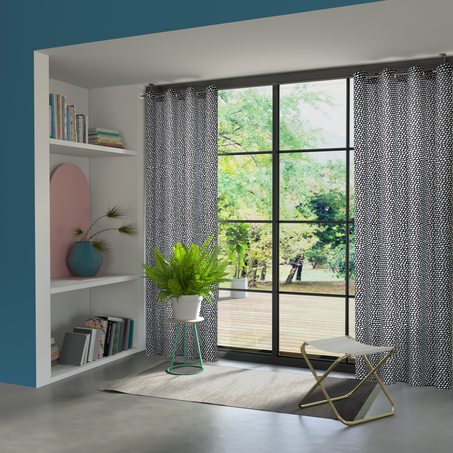 rideau cube coloris noir 135 x 240 cm blanc rideau 4murs. Black Bedroom Furniture Sets. Home Design Ideas