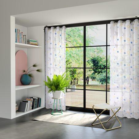 voilage terrazzo coloris blanc 135 x 240 cm gris rideau 4murs. Black Bedroom Furniture Sets. Home Design Ideas