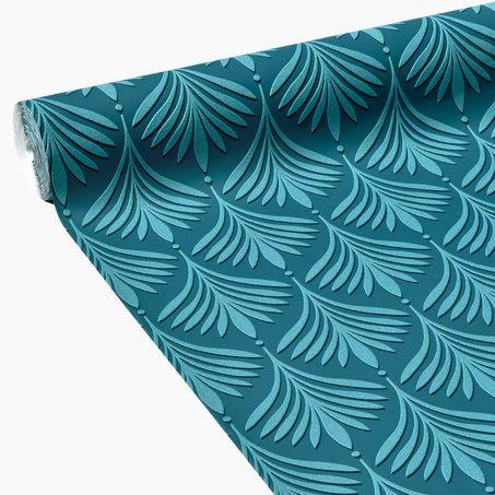papier peint intiss brasilia coloris bleu p trole vert feuille papier peint 4murs. Black Bedroom Furniture Sets. Home Design Ideas