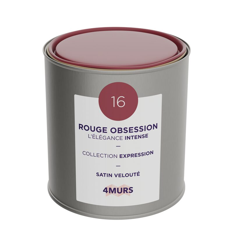 Peinture Finition EXPRESSION Acrylique rouge obsession Satiné 0,5 L