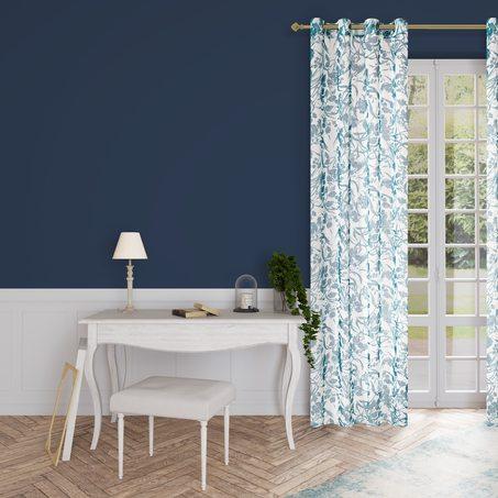 rideau wisy coloris bleu paon 140 x 250 cm rideau welldeco. Black Bedroom Furniture Sets. Home Design Ideas