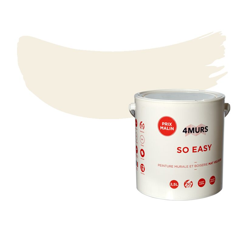 Peinture Multi-supports SO EASY Acrylique écru Mat 2,5 L