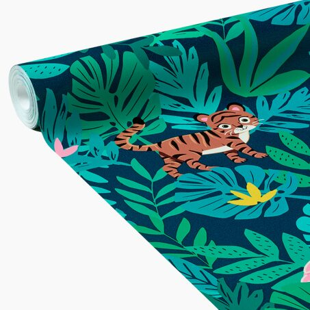 Non-woven wallpaper JUNGLE KIDS BY E.RIVASSOUX colour navy blue