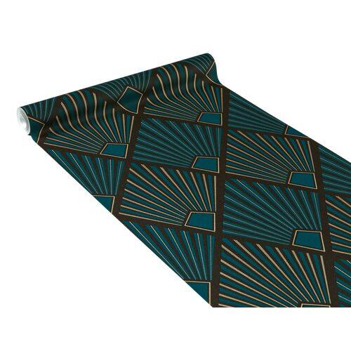 papier peint intiss tamara coloris bleu paon papier peint welldeco. Black Bedroom Furniture Sets. Home Design Ideas