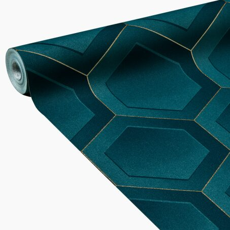 Non-woven wallpaper CLINT colour petrol blue