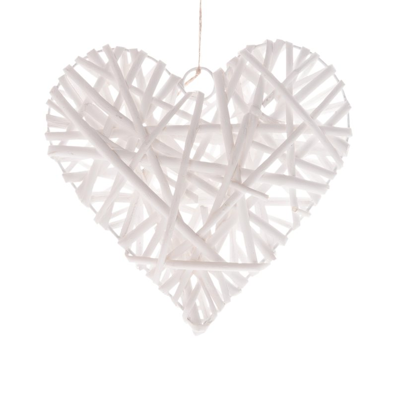 Décoration à suspendre WILLOW HEART coloris blanc