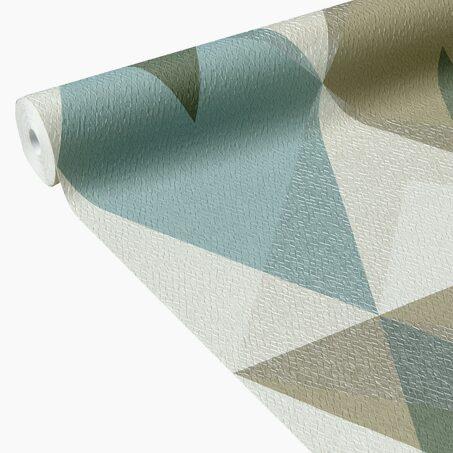 Papier peint intiss akito coloris vert aqua papier - Papier peint 4 murs salon ...