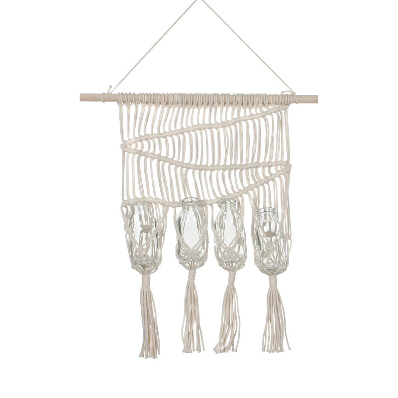 Suspension en macramé MANOLO coloris beige