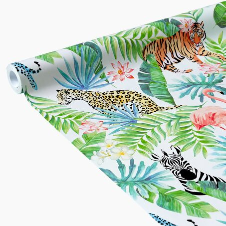 Papier peint intissé JUNGLE PARTY coloris blanc