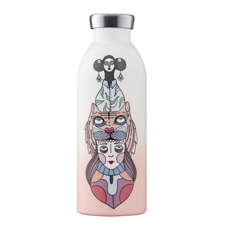Thermos CLIMA coloris Dégradé rose blanc