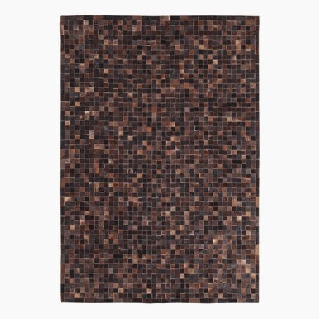 Tapis LEATHER PATCH coloris brun