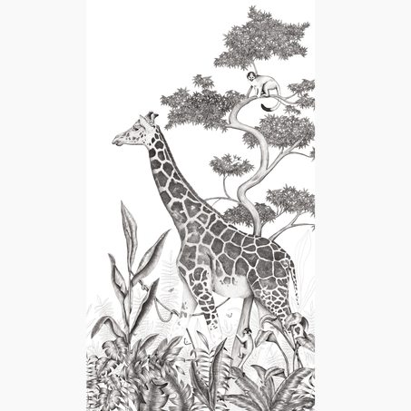 Décor mural panoramique L BLACK JUNGLE GIRAFE 150 x 270 cm