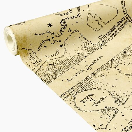 Papier peint intissé HARRY POTTER LA CARTE DU MARAUDER coloris sable